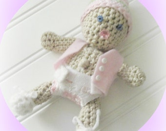 Crochet 6 inch Doll, Basket, Hat, Shirt and Diaper Pattern