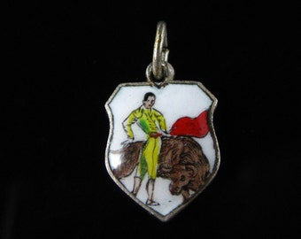 Charm, Bull Fighting, Spain, Fighting with The Bulls, Travel Shield, Enamel Charm