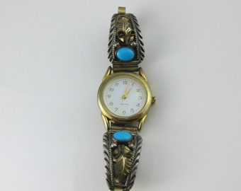 Vintage Southwestern Turquoise Ladies Watch With Sterling Silver Watch Tips