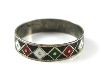 Ring, Size 7, Sterling Silver, Enamel Ring Band, Diamond Shape Pattern, Multi Color Enamel Ring