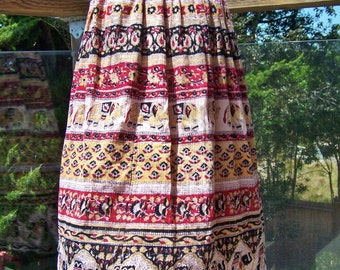 Tribal skirt, Boho skirt, India skirt, Elephant skirt, Wild animal skirt, Rayon skirt, osfm