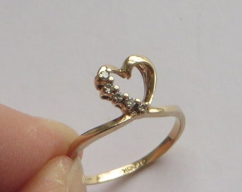 Lovestory brand Vintage Diamond 10K Gold Heart Companion Ring, size 6.75, free US first class shipping