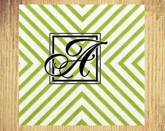 Green Chevron Initial Cocktail Napkins: Your Choice of Initial and Ink Color
