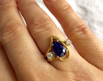 Beautiful Blue Tear Drop Sapphire with Diamonds Gold Ring