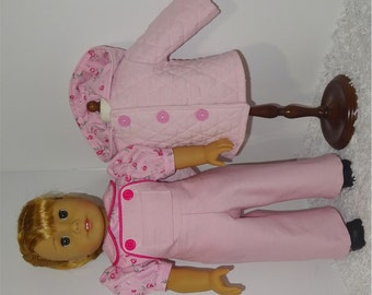 Pink Jacket and Overalls Set, Fits 18 Inch American Girl Dolls