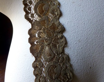 2 yds. Antique Gold Stretch Lace for Lingerie, Headbands, Garters STR 1013ag