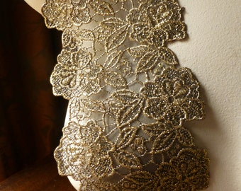 Gold Metallic Lace Trim on Black Organza for Costumes, Sashes, Garments CL 5005