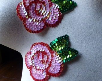 2 Beaded Rose Flower Appliques in Pink & Red for Lyrical Dance, Costumes, Garments IRON