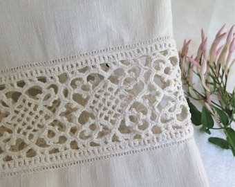 Linen Hand Towel with Hand Made European Lace Trim OOAK Upcycled