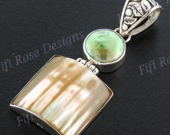 "1 15/16"" Green Biwa Pearl Gold Mother Of Pearl Turbo Shell 925 Sterling Silver Pendant"