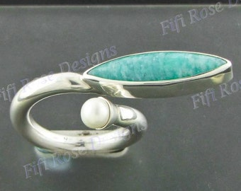 Design Amazonite Freshwater Pearl 925 Sterling Silver Sz 8 Ring