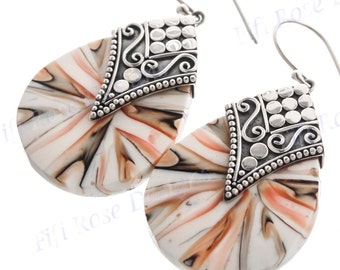 "1 3/8"" Design Cone Shell 925 Sterling Silver Earrings"