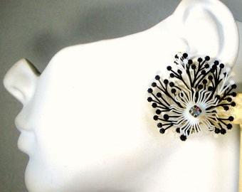 Black White Flower Clip Earrings, 1960s  Plastic Petals, w Aurora Borealis Pink Rhinestone Center, Made in Germany