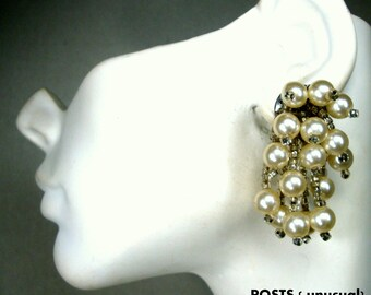 Pearl Fringed Dangles, Long Full POSTS,  Ear Candy Dressy Earrings,  Mad Men 1960s, White Perls w Clear Glass Seed Beads, Pierced