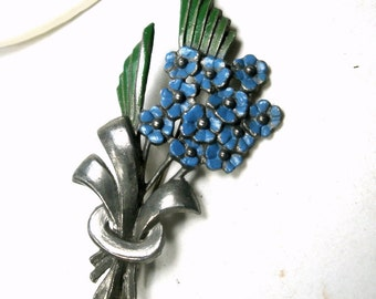 Vintage Blue Flower Bouquet Pin, 1940s Very EASTER Cottage Chic Stylized Brooch, Dark, Moody, Previously Loved