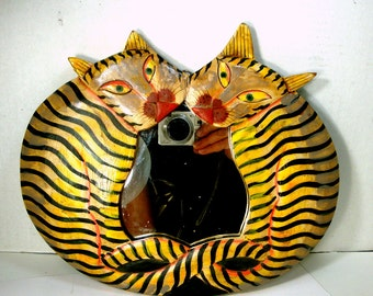 Striped Cats Mirror, HandPainted Carved Wood, Bali, 1980s, Yellow  Black White Tabby Pair,  2 Tails Entwined, Two Kitties, Twin Felines