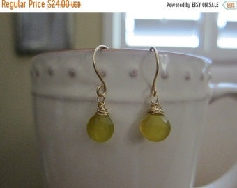 ON SALE Yellow Chalcedony Earrings with Gold Filled Earwires
