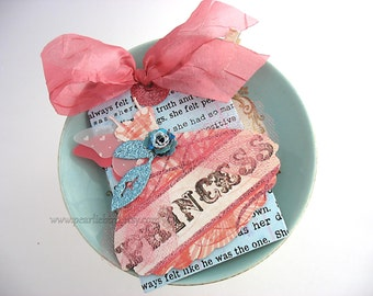 Fanciful Girlie Dress XL Clip On Gift Tag~Angel Wing Dress~Paper Rose~Vintage Inspired~Shabby Chic Style~Pink~Blue~Cream