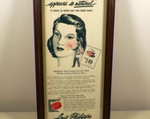 Angelus Rouge 1944 Original Color Beauty Product Advertisement, Framed Great Condition, Louis Philippe