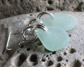 Natural Sea Glass Sterling Silver Earrings Soft Seafoam  (773)