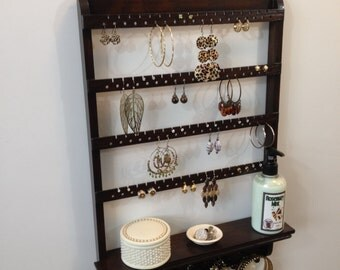"""Jewelry Organizer, Shelf Holder, Post Earring Storage, Necklace Display, Oak Hardwood, Wall Mounted """"You Choose The Stain"""""""