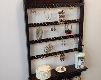 Jewelry Holder, Shelf Organizer, Earring Storage, Necklace Rack, Oak Hardwood, Post Earring, Hoop Earrings, French Hooks, Wall Mounted