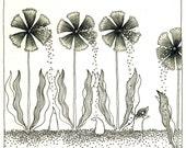 Original drawing - His garden flowers 3
