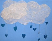 Cloud and hearts, Valentines Day, I love you, anniversary, cut paper, blue and white, heart rain drops