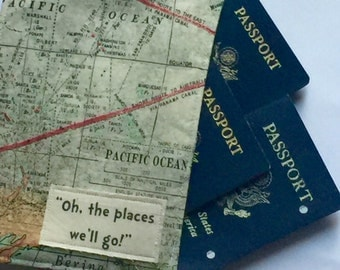 Family Passport Cover, Oh the places We'll go, Passport Wallet for 4 to 8 Travel Wallet Map Fabric