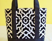 BIBLE TOTE Journaling Bible Tote Perfect Size for your Bible, Journal, Pens, Study guides. Classic White and Black graphic print
