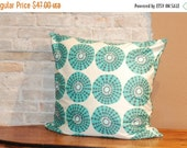 SALE HUGE 26 inch pillow cushion cover - Aqua Grey White Modern Grahic Cotton Sateen Fabric - Modern Retro Room Decor - FREE Shipping