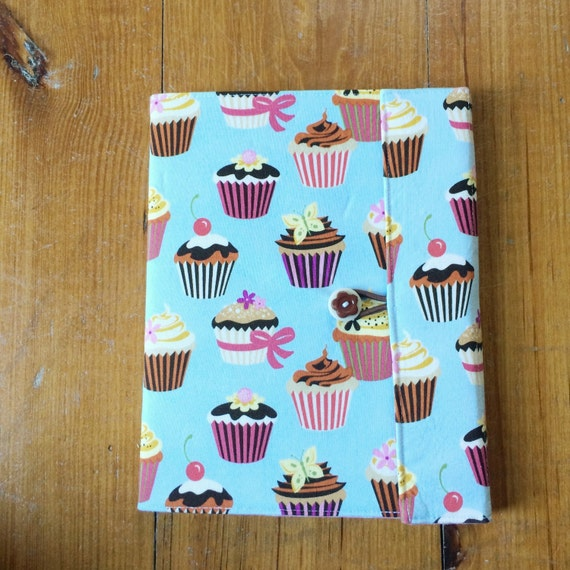 Reusable Fabric Book Cover : Cupcake reusable fabric covered composition book cover with