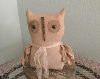 PRIMITIVE FOLKART OWL, Bowl Filler Ornie, Shelf Sitter, Tuck