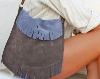Fringed Suede Boho Bag in Pewter and Charcoal Gray. Small Shoulder Bag. Greek Leather Bag. Women's Bohemian Bag. Messenger Bag. Gift for Her