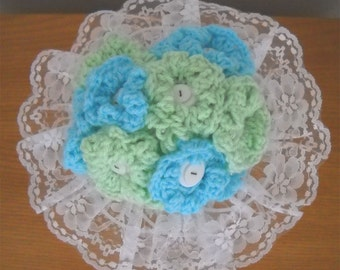 Mint and Turquoise Yarn And Buttons Flower Wedding Bouquet