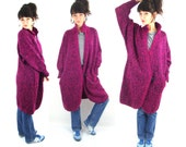80s oversize long cardigan / magenta / mohair blend