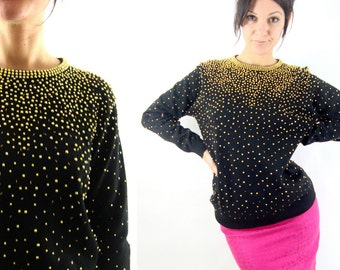 80s beaded sweater / gold / black / s