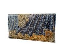 Mini Bi-fold Clutch - Iridescent peacock feathers