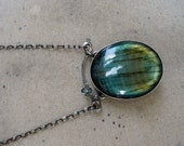 Straw Moon- HUGE Labradorite pendant set in sterling silver with sterling oval rolo chain long modern original unique fiery blue industrial