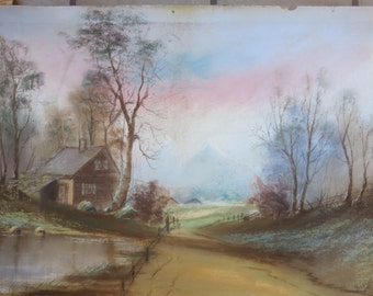 Antique Pastel Landscape Painting - Cabin Pond Trees Mountains Spring
