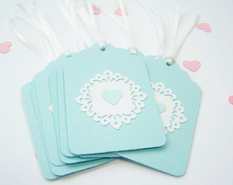 Victorian Hang Tags, Special Occasion, Holiday Tag, Lacy Teal Blue Gift Tag, Retail Boutique Pricing Tag, Bridal or Shower Gift Tag