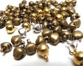last pack / J629MX / 30Gm *85Pc / D8mm - Mixed of Dull Gold , Bright Sterling Silver Tone , Antique Brass Colors Jingle Bells Charm
