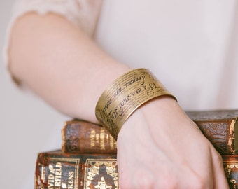 The Tempest - Famous Quotes - William Shakespeare Jewelry - Literary Gifts - We Are Such Stuff As Dreams - Brass Cuff