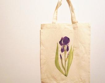IRIS-Handpainted Botanical Tote Bag