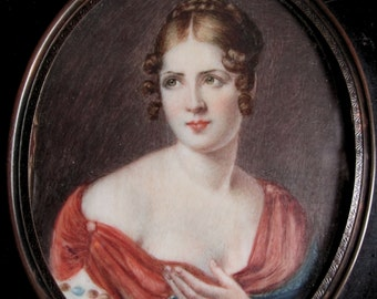 Fine Antique Miniature Portrait Painting of Lady with Shawl