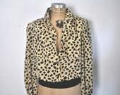 Polka Dot Blouse / v neck button down Shirt / M-L