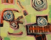 """Dinner at the Dollhouse - Original Acrylic Oil Encaustic Abstract Still Life Painting - 8""""x8"""""""