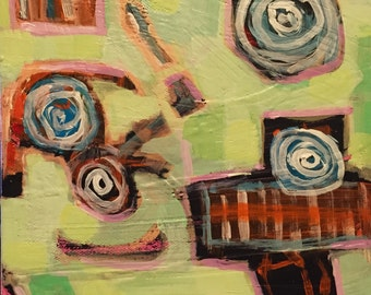 "Dinner at the Dollhouse - Original Acrylic Oil Encaustic Abstract Still Life Painting - 8""x8"""