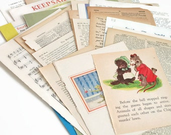 30 Mixed Vintage Paper Book Pages for Project Life, Scrapbooking, Junk Journals, Albums, Smash Books, Making Envelopes, Vintage Ephemera