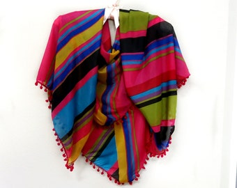 Multi Colored Stripe Scarf Wrap Red Ball Trim Boho Vintage 1980s